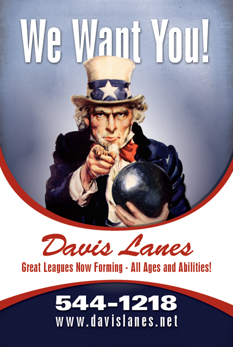 Davis Lanes Bowiling Poster of Uncle Sam