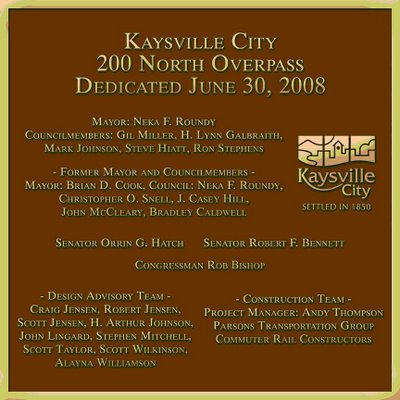 Kaysville City Bridge Plaque